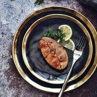 כלי קרמיקה יצירתי צלחות צד זהב שחור מט מגש מטבח ארוחת ערב כלי שולחן רטרו סגנון אירופאי צלחות קינוח סטייק