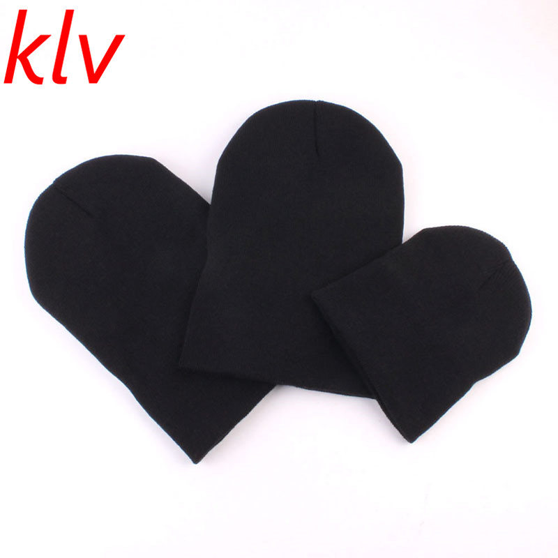 KLV Fashion Lovely A Family Cap Dad Mom Baby Hat Women Kid Soft Knitted Winter Beanie  Casual Solid  Winter Warm Hat Free Ship lovely toddler first walkers baby boys and girls cotton shoes soft bottom hook sneakers i love mom dad