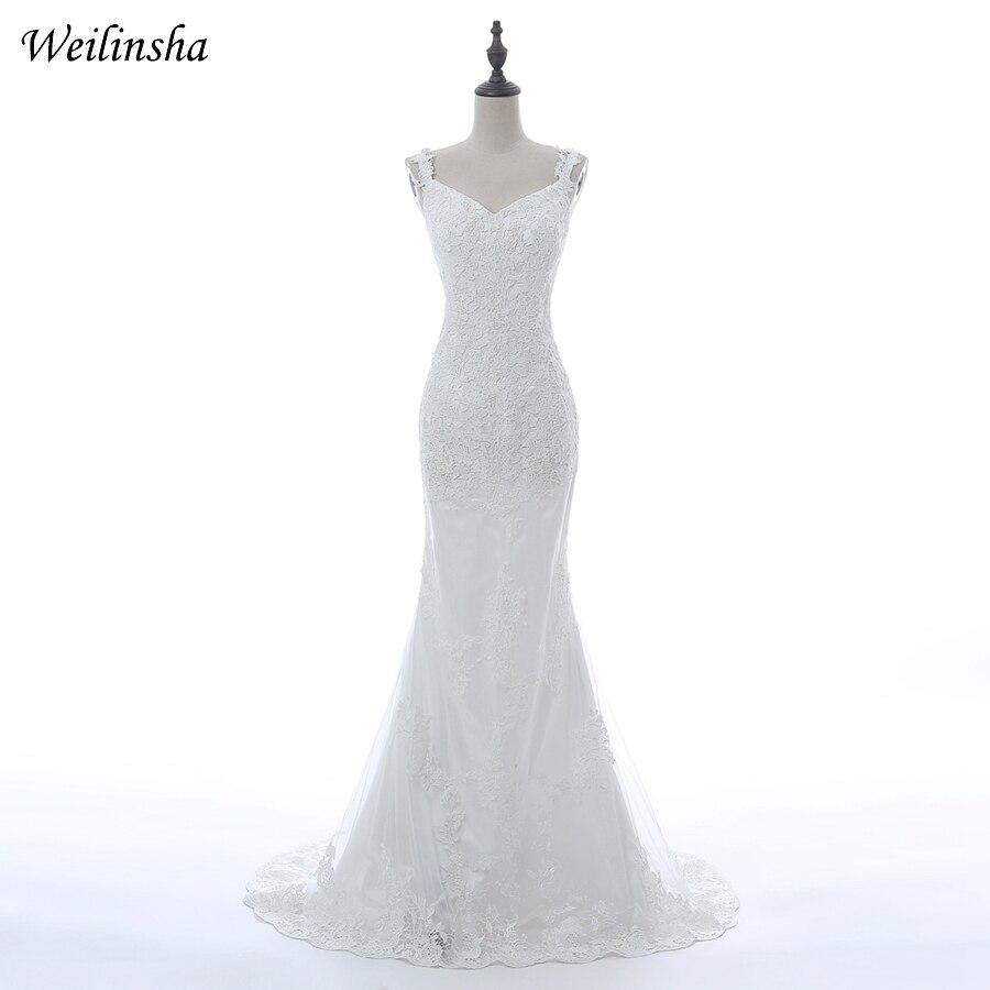 Weilinsha Custom Mermaid Wedding Dress Spaghetti Straps Tulle Applique Wedding Gowns Sweep Train Open back Vestido