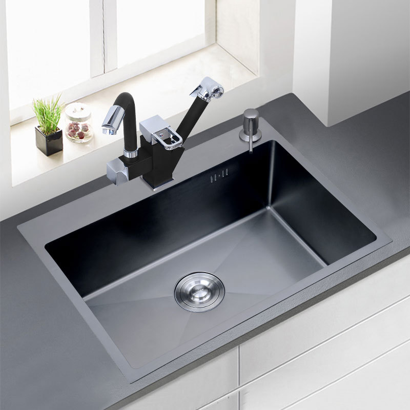 304 Stainless Steel Black Thickened Brushed Manual Sink Double Trough Package Kitchen Countertop Counter Basin Sink Double Basin