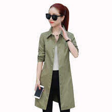 2019 New Women Windbreaker Spring Slim Long-sleeved Single-breasted Coat Autumn Solid color Medium long Female Trench Outerwear 2018 spring new women fashion trench coat female loose cardigan stitching printing long sleeved single breasted outerwear cx88
