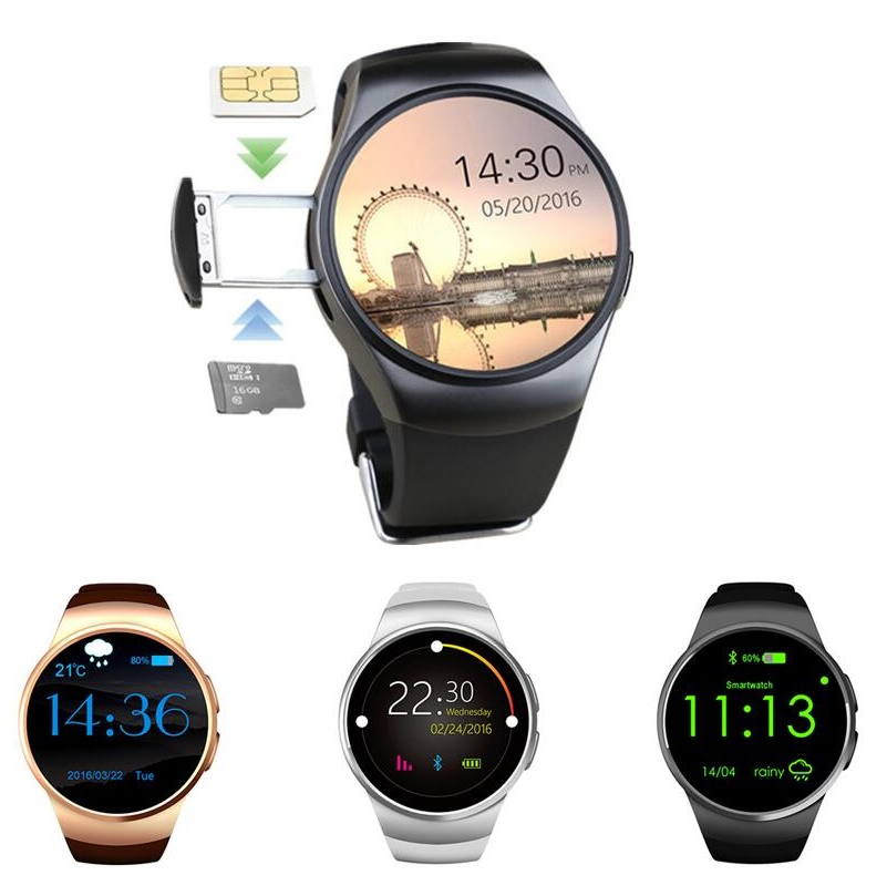 GZDL KW18 Bluetooth Smart Watch Full Round <font><b>Screen</b></font> Support SIM TF Card Smartwatch Heart Rate Monitor For IOS Android <font><b>Phone</b></font> WT8042