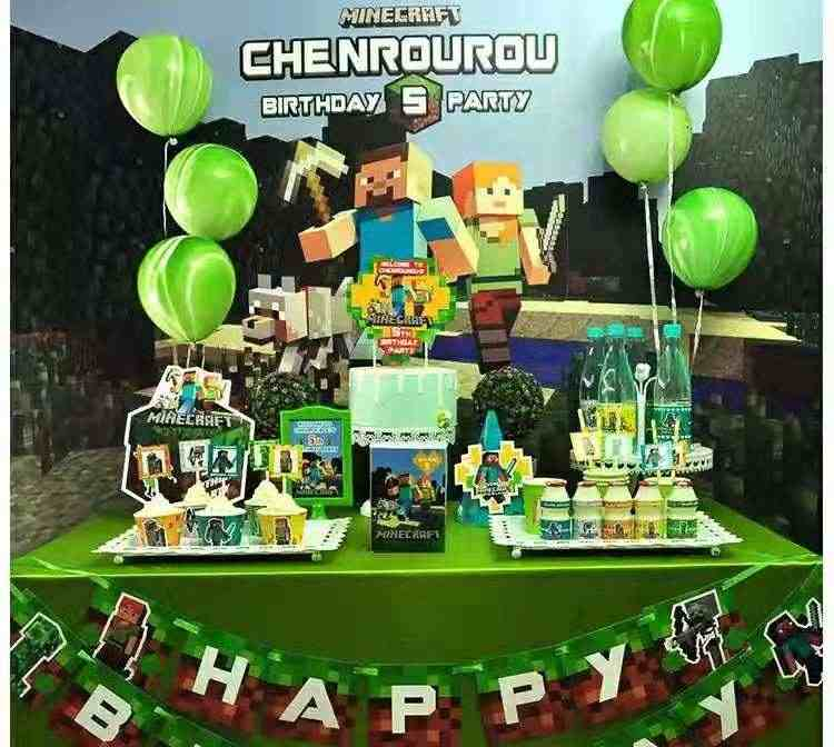 Minecraft Theme Childrens Birthday Party Supplies Hat Dessert Table Decoration Cake Placement Row Posters