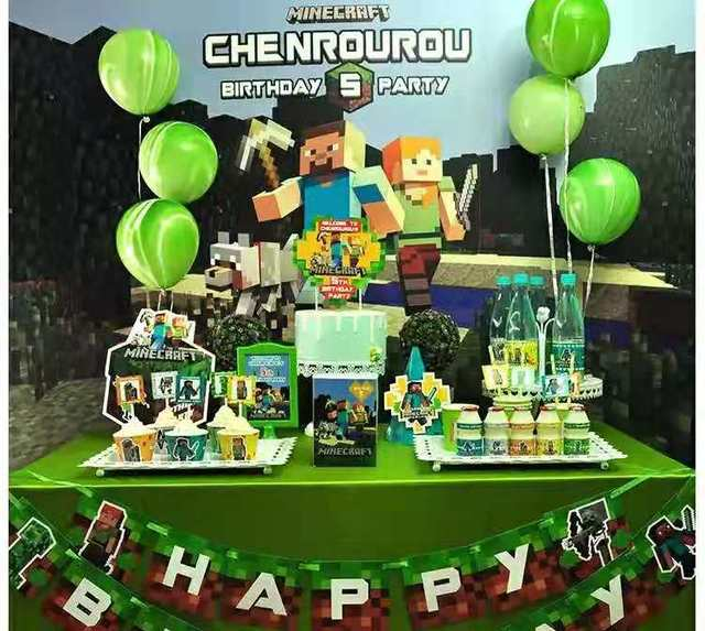 Minecraft Theme Childrens Birthday Party Supplies Hat Dessert Table Decoration Cake Placement Row Posters Customized
