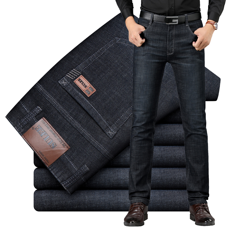 Sulee Brand Jeans Exclusive Design Famous Casual Denim Jeans Men Straight Slim Middle Waist Stretch Men Jeans Vaqueros Hombre
