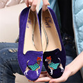 Purple Dog Embroidery Women Velvet Flats Vintage Ballet Flats Casual Flat Shoes Woman Slip On Moccasins Espadrilles Loafers