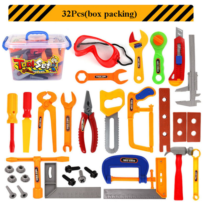 37Pcs/set Kid Plastic Repair Tool Kit Toy Garden Tool Set Pretend Play Educational Engineering Maintenance Toys For Boys Gifts