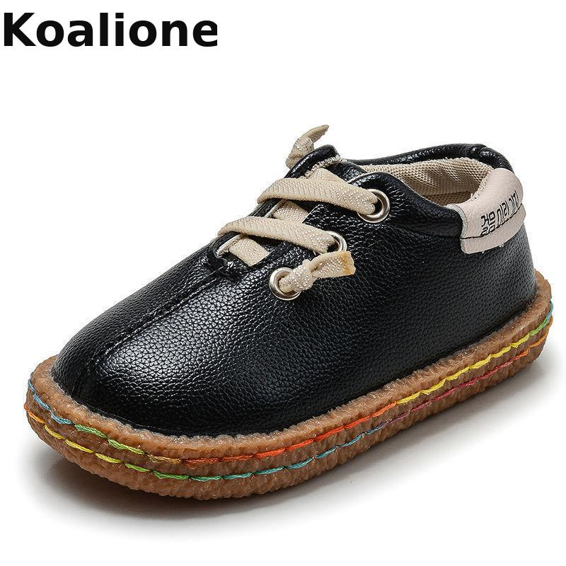 Kids Shoes For Boys Girls Leather Shoes Vintage Oxford Black Children Casual Loafer Moccasins Baby Toddler Shoes Soft Sole Flats
