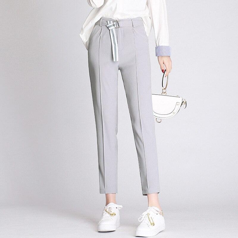 Women   Pants   &   Capris   Slim summer Solid color High waist thin Pencil   pants   Skinny Ankle-Length   Pants   Woman 8202