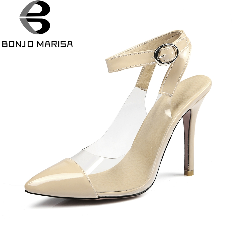 BONJOMARISA Brand New Big Size 31-47 Summer Pointedtoe Shoes Women Pumps Sexy Party Prom High Heels Red Pumps Woman bonjomarisa 2018 summer brand sexy women mules print patent leather pumps crystal high heels party wedding shoes woman