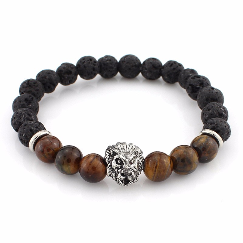 black-lava-stone-bracelets-with-silver-lion-with-brown-colored-natural-stones