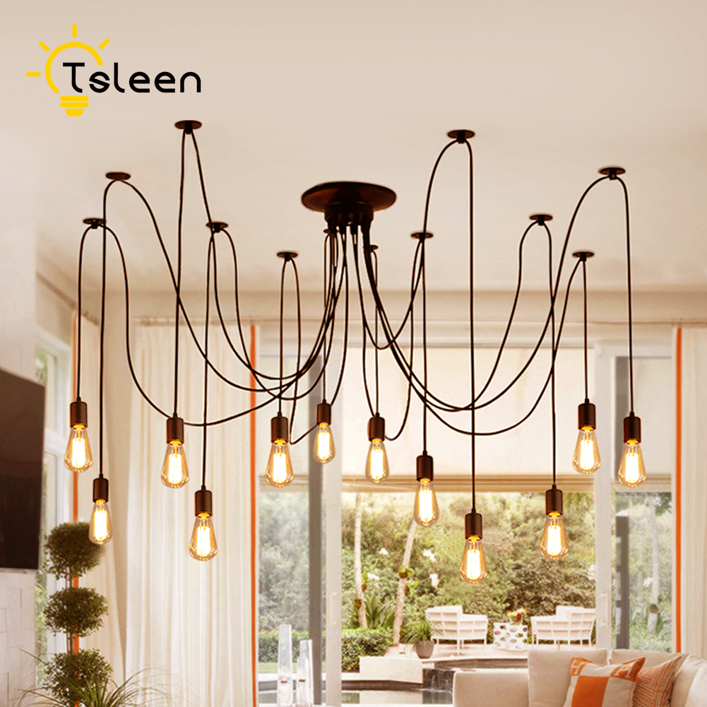 TSLEEN Nordic Spider Pendant Light Lustre Pendente Chandelier Led Lamp Vintage Loft Antique Adjustable With Golden Edison Bulb tsleen free shipping vintage loft nordic classic e27 e26 led retro edison bulb pendant lights ceiling golden light fixtures