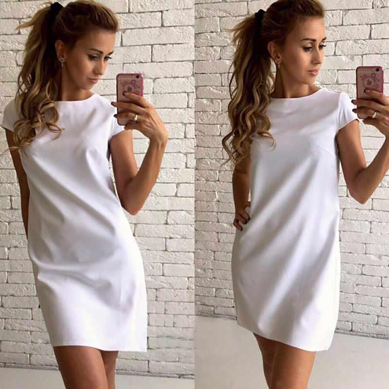 Oufisun แฟชั่นแขนสั้น Elegant ผู้หญิงชุด O-Neck เซ็กซี่ A-Line ฤดูร้อน 2019 หลวม Mini สีขาว vestidos