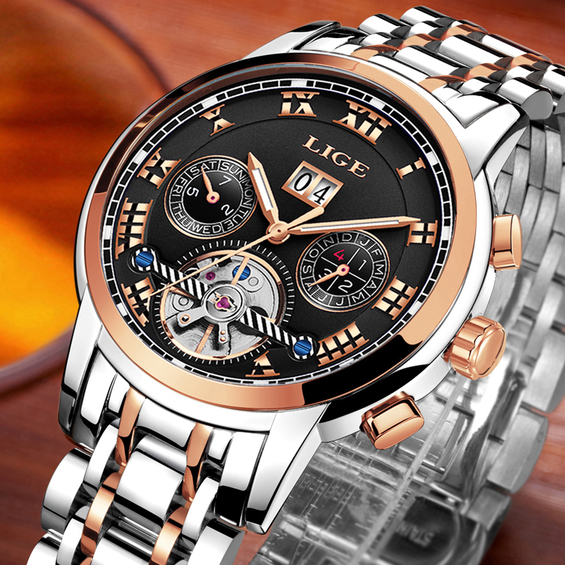 Men Watch Top luxury Brand LIGE Mens Mechanical Watches Waterproof Sport Stainless Steel Rose Gold Business Fashion Male clock cadisen automatic mechanical mens watches top brand luxury full steel watch men business waterproof fashion male clock rose gold