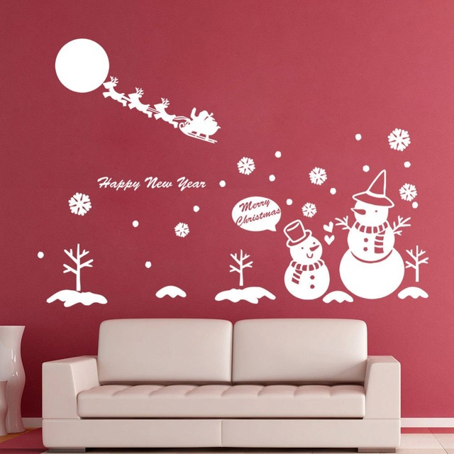 Christmas Wall Decal Snowman Santa Claus Wall Decor Christmas Sticker Vinyl  Funny Christmas Snowflake Wall Sticker