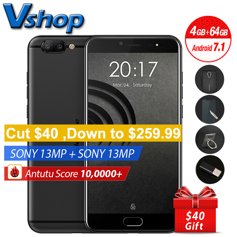 Original Ulefone Gemini Pro 4G Mobile Phones Android 7.1 4GB RAM 64GB ROM Deca Core Smartphone 2 Back Camera 5.5 inch Cell Phone