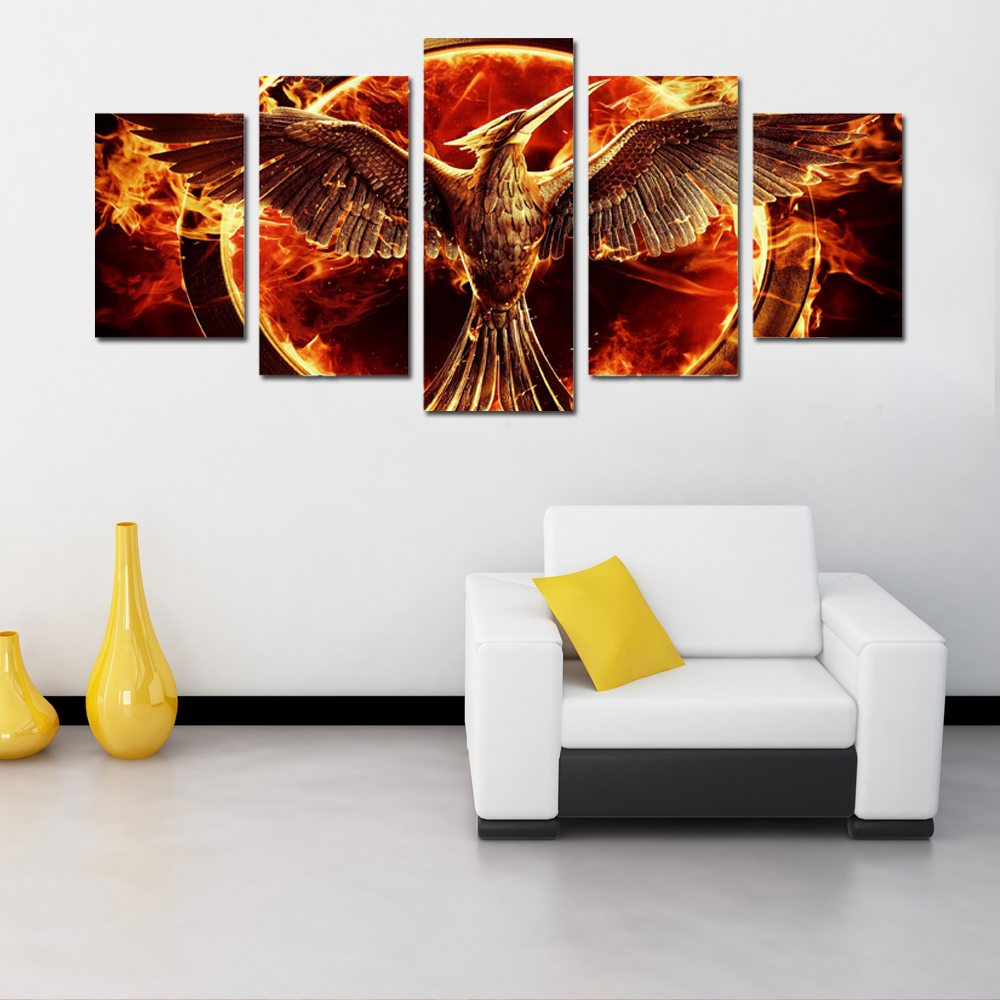 Wonderful 5 Panel Canvas Art Hungry Games Movie Group Painting On Canvas Room  Decoration Picture Mocking Jay Movie Room Decorations In Painting U0026  Calligraphy From ...