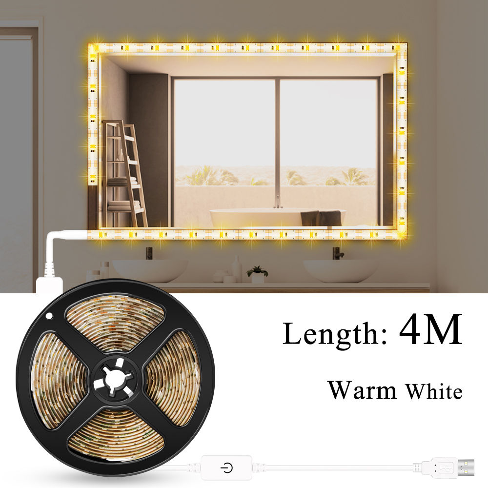 Makeup Vanity Mirror Light Strip Led USB Cable 5V Dimmable Dressing Table Lamp Tape Bathroom Make Up Cosmetic Mirror Lights Kit 2