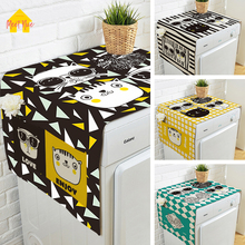 hot deal buy meet nice hot single door refrigerator double pocket dust covers printing high quality cotton and linen washing machine cartoon