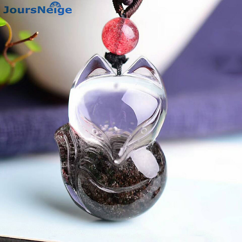 Wholesale Fine Natural Ghost Crystal Pendants Hand Carved Fox Sweater Chain Necklace Wealth Lucky for Women Men Crystal Jewelry недорого