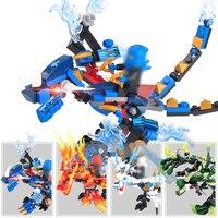 4 unid/set Ninjagoes dragon knight bloques de construcción para niños juguetes calientes iluminan ladrillos ninja mini figuras de acción de juguete para los niños los niños