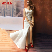 1/6 Scale Womens Figures White Long Evening Dress for 12 Inches Bodies