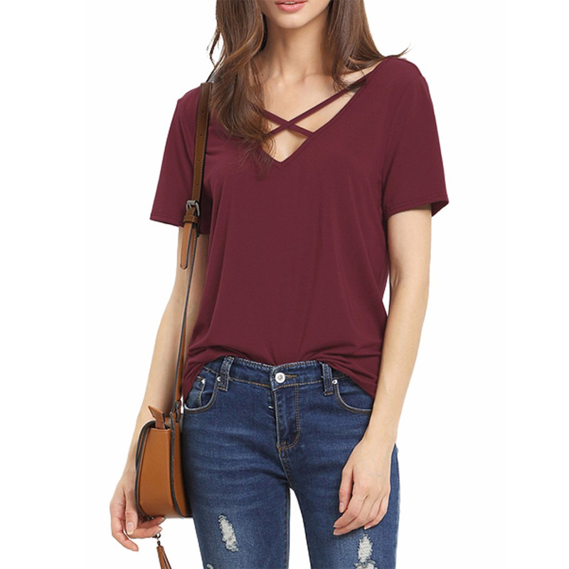 Phertiful Women's Casual Tees Summer T shirt Tops Ladies Grey <font><b>Ribbed</b></font> Crisscross Front Half Sleeve <font><b>Cold</b></font> <font><b>Shoulder</b></font> <font><b>T-shirt</b></font> Poleras