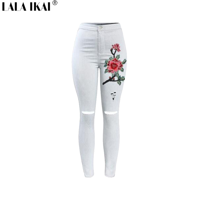 8ffdad7b548 Pre-Sale Plus Size XXXL Washed Pants Girls Ripped Skinny Hole Denim Jeans  Embroidery Floral Distress Plus Size Pants KWA0386-45