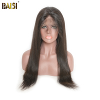 BAISI Brazilian Hair Wigs Straight Full Lace Wigs 130 Density Remy Hair With Pre Plucked Natural
