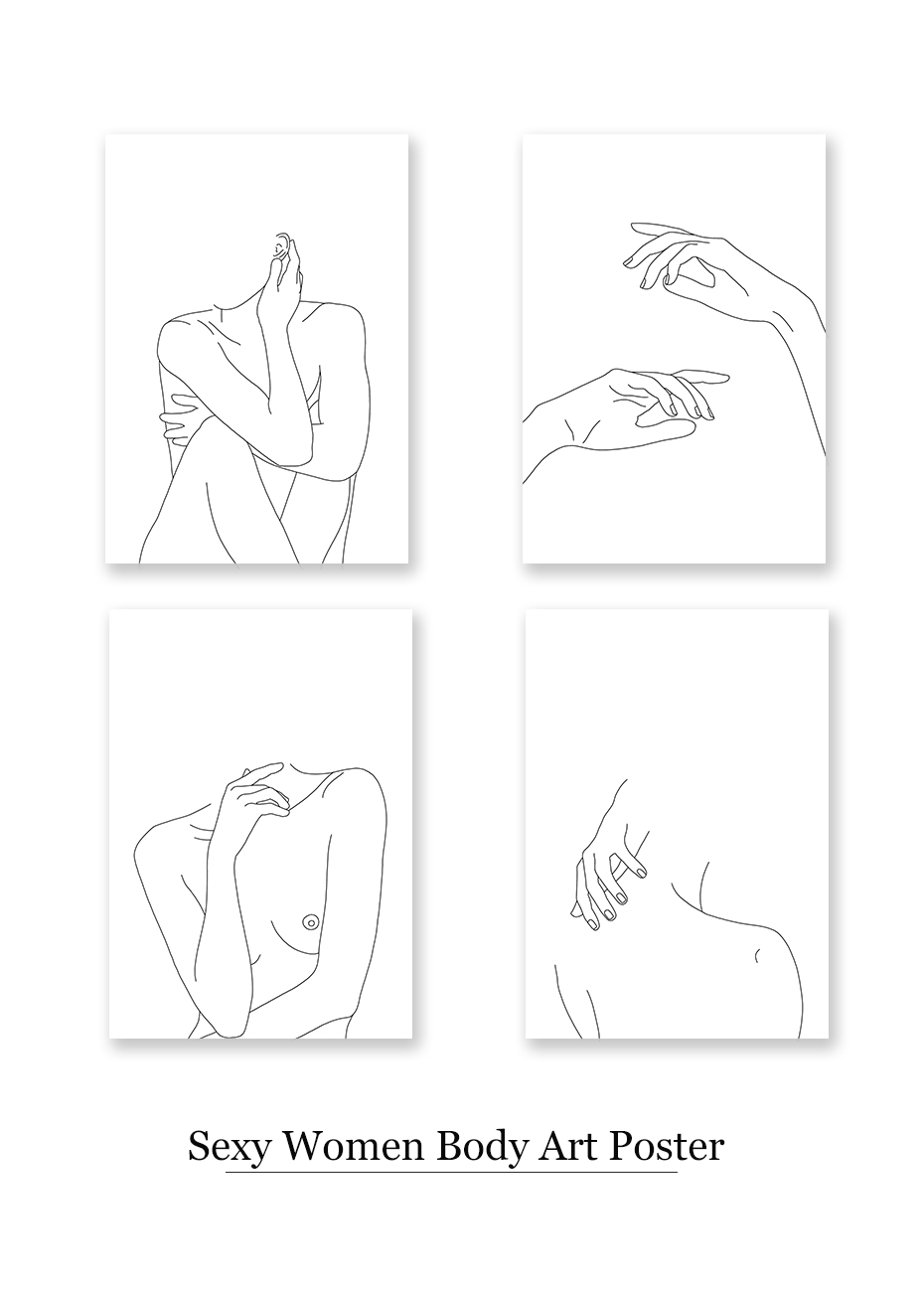 Nordic Posters Prints Modular Minimalist Line Drawing Wall Pictures Sexy Woman Body Nude Art Paintings Bedroom Home Decor Painting Calligraphy Aliexpress