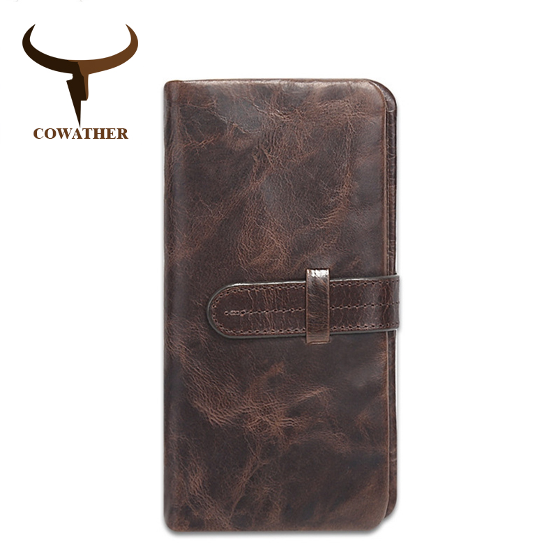 COWATHER 2018 Nueva moda vaca de cuero genuino para hombre carteras para hombres, cartera de diseño de estilo largo carteira masculina marca original