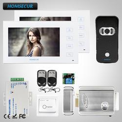 """HOMSECUR 7 """"Видеодомофон Система Вызова Электрический замок + ключи включены: TC021-B + TM704-W"""