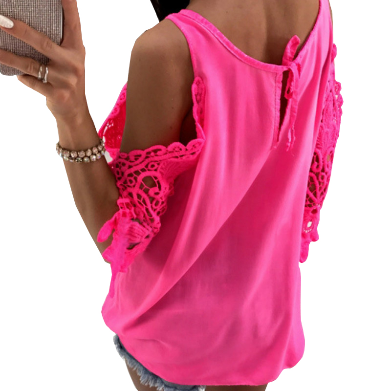 Women Summer Chiffon Blouses 2018 New Casual Sexy Sun-top Blusas Half Sleeve Lace Patchwork Shirts Off Shoulder Tops Solid GV381