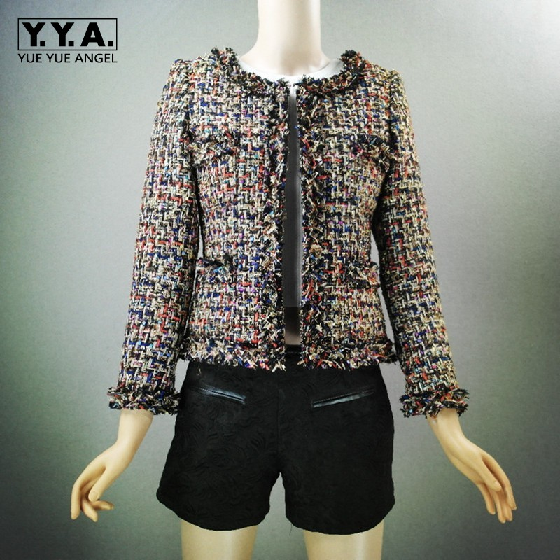 Top Brand New Fashion Women Tweed Short Jacket Slim Fit Twill Trimmed Female Outwear Coat Formal Party Elegant Lady Jackets