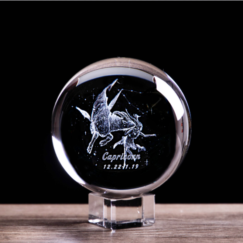 3D Laser Engraved Capricorn Crystal Glass Ball Angel Constellation Figurines Statuette Collectible Paperweight Home Decor Gifts(China)