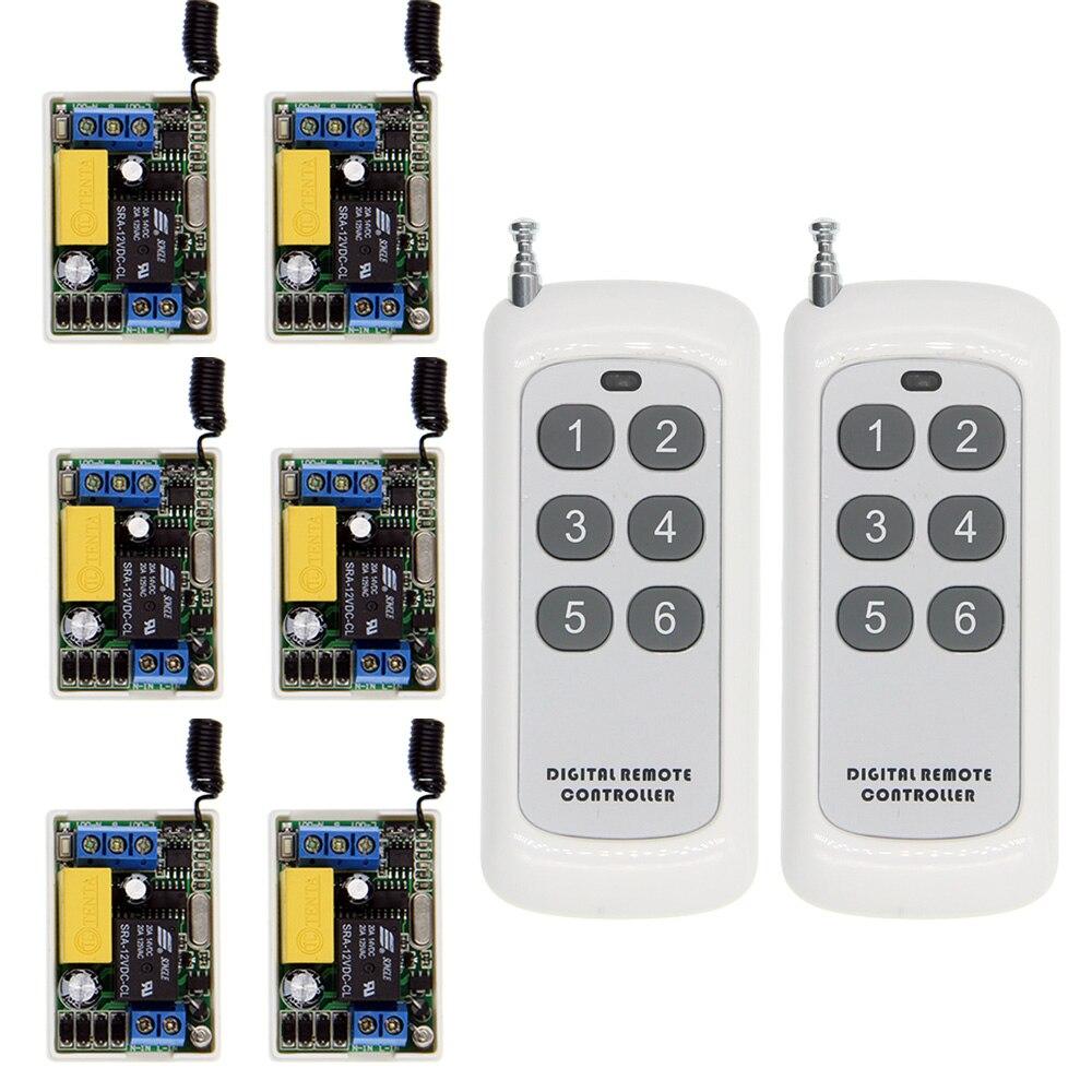 500 m minuscule taille 220 V 1CH 1CH 10A télécommande sans fil interrupteur relais récepteur + 6CH système émetteur, auto-verrouillage