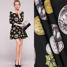 150 cm digital print fabric print stretch twill fabric material stage costume scarf dress polyester fabric wholesale cloth(China)