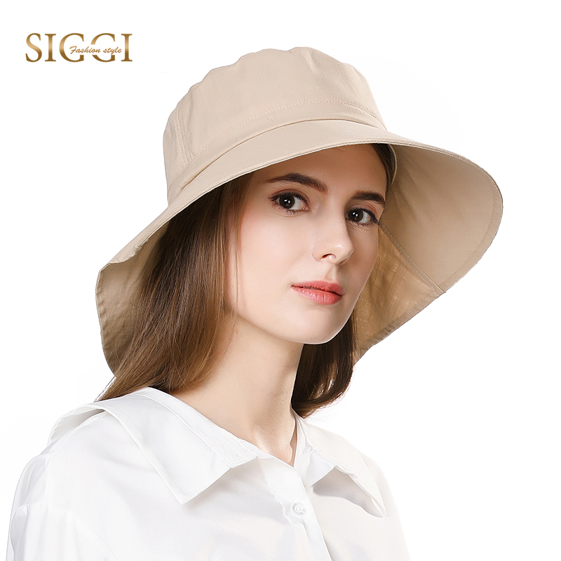 FANCET Wanita Summer Sun Hat Wide Brim Chapeu For Girl Praia Chapeau Femme Flap Cover Cap Cotton UPF50 + UV Chin Cord Fashion 1005