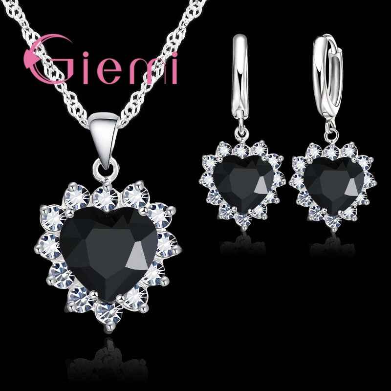 Verschiedenen Bunten Zirkonia Anhänger Halskette Ohrringe Schmuck Sets Schöne Herz Blume 925 Sterling Silber Geschenke