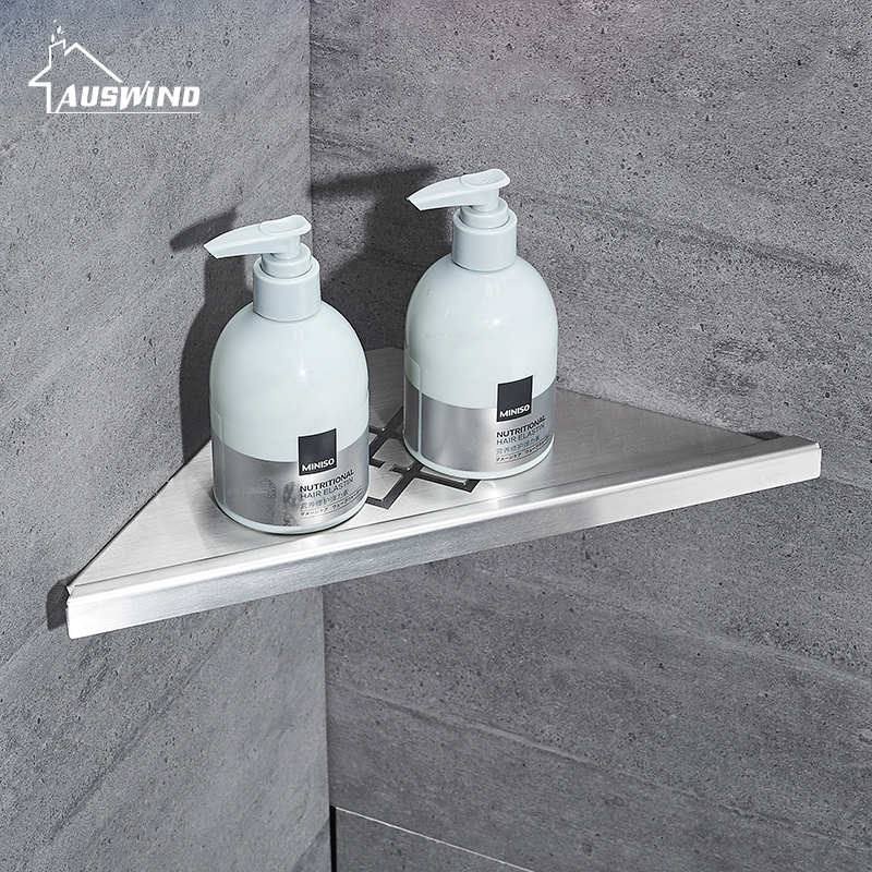 Silver Bathroom Shelves Brushed Stainless Steel 304 Wall Bathroom Shelf Shower Caddy Rack Bathroom Accessories Shelves Hs10