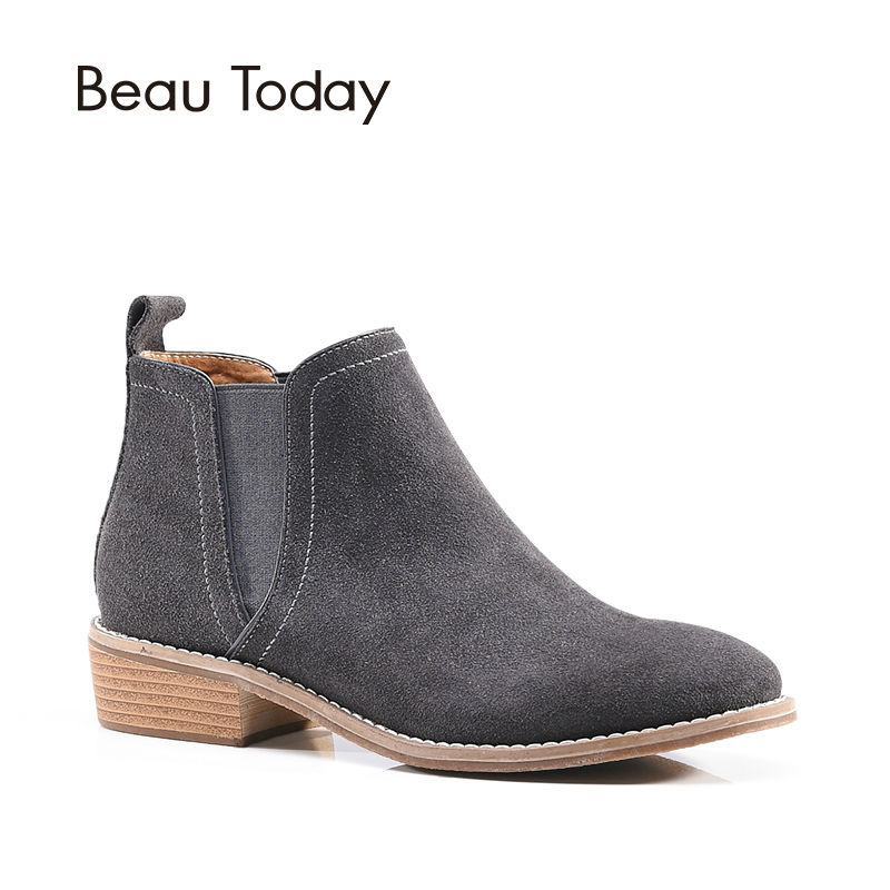 BeauToday Chelsea Boots Women Genuine Leather Cow Suede Ankle Round Toe Elastic Ladies Shoes Handmade 03008 new arrival women genuine leather flat ankle boots fashion round toe lace up ankle boots for women ladies casual cow suede boots