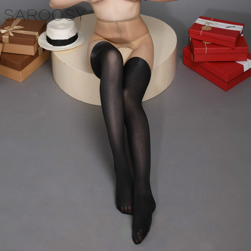 2018 New Patchwork Color Pantyhose Contrast Tights Free Size Open Crotch Fake Thigh-high Stockings 12Den+30Den 4 Colours