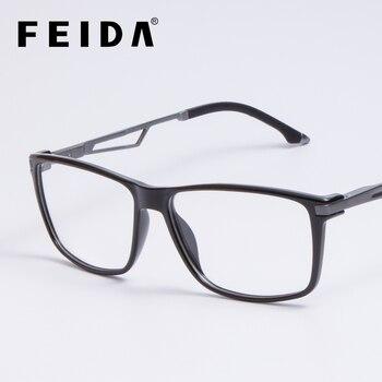 W stylu Vintage plac tytanu okulary ramki mężczyzna jasne okulary z przezroczystym obiektywem TR90 oprawki do okularów okulary optyczne ramki