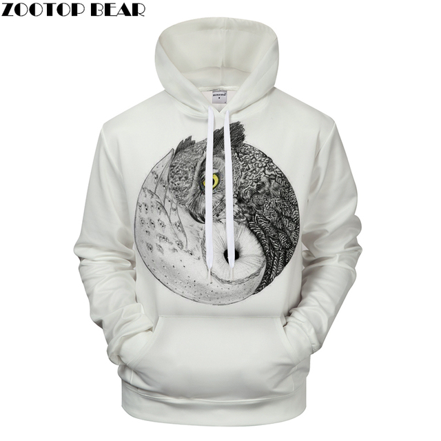 dd1fb57bea1e Ying   Yang Owl Prints Hoodie 3D Printing White Mens Hoodies 2018 Mens Clothing  Sweatshirts Pullover Drop Ship ZOOTOP BEAR