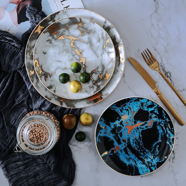 """8 and 10 inch Marble Ceramic Plate Unique Dinner Set Dish Dessert Plate Wholesale Dinnerware Cake.jpg 640x640 - tabletop-and-bar, dinnerware - """"Le Royal"""" Marble Collection"""