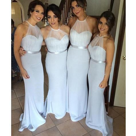 XH-40 New Arrival Long Mermaid   Bridesmaid     Dresses   2019 Vestido Madrinha Halter Neck Sexy Backless Gown For Wedding Party