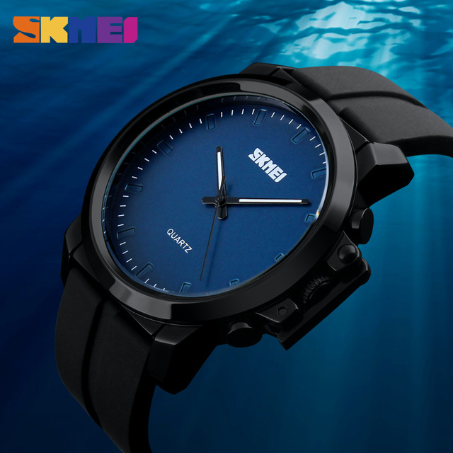 SKMEI Big Dial Men Quartz Watches Luxury Brand Silicone PU Strap Waterproof Fashion Casual Wristwatches Relogio Masculino 1208