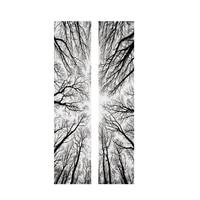 2 pcs 3D Árvores Silhueta Styling Adesivos de Porta Adesivos Decorativos DIY Quarto Casa Sala de estar Decoração Poster 38.5X200 cm