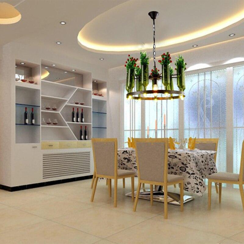 Кованые Ретро промышленных E27 стеклянная бутылка и искусственные растения украшения подвесные светильники для гостиной ресторан кафе