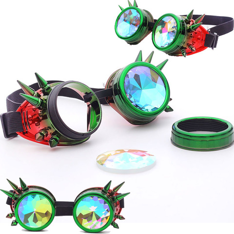 FLORATA Kaleidoscope Colorful Glasses Rave Festival Party EDM Sunglasses Diffracted Lens Steampunk Goggles Karachi